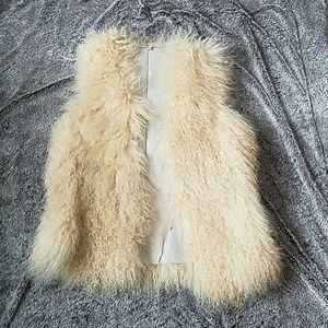 Mongolian lamb vest // fur vest